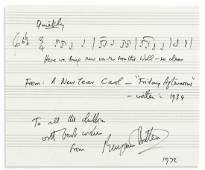 BRITTEN, BENJAMIN. Autograph Musical Quotation Signed
