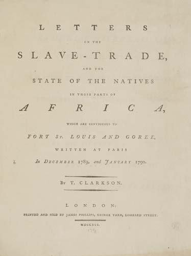 2034022: CLARKSON, THOMAS. Letters on the Slave-Trade,