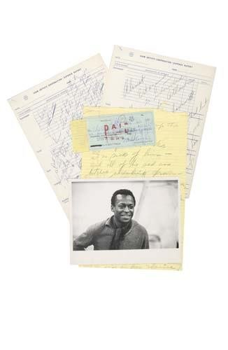 2034304: DAVIS, MILES. Small archive of Autograph mater