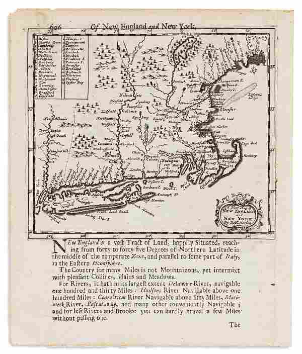 MORDEN, ROBERT. A New Map of New England and New York.