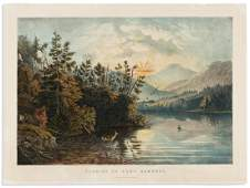 CURRIER & IVES. Sunrise on Lake Saranac.