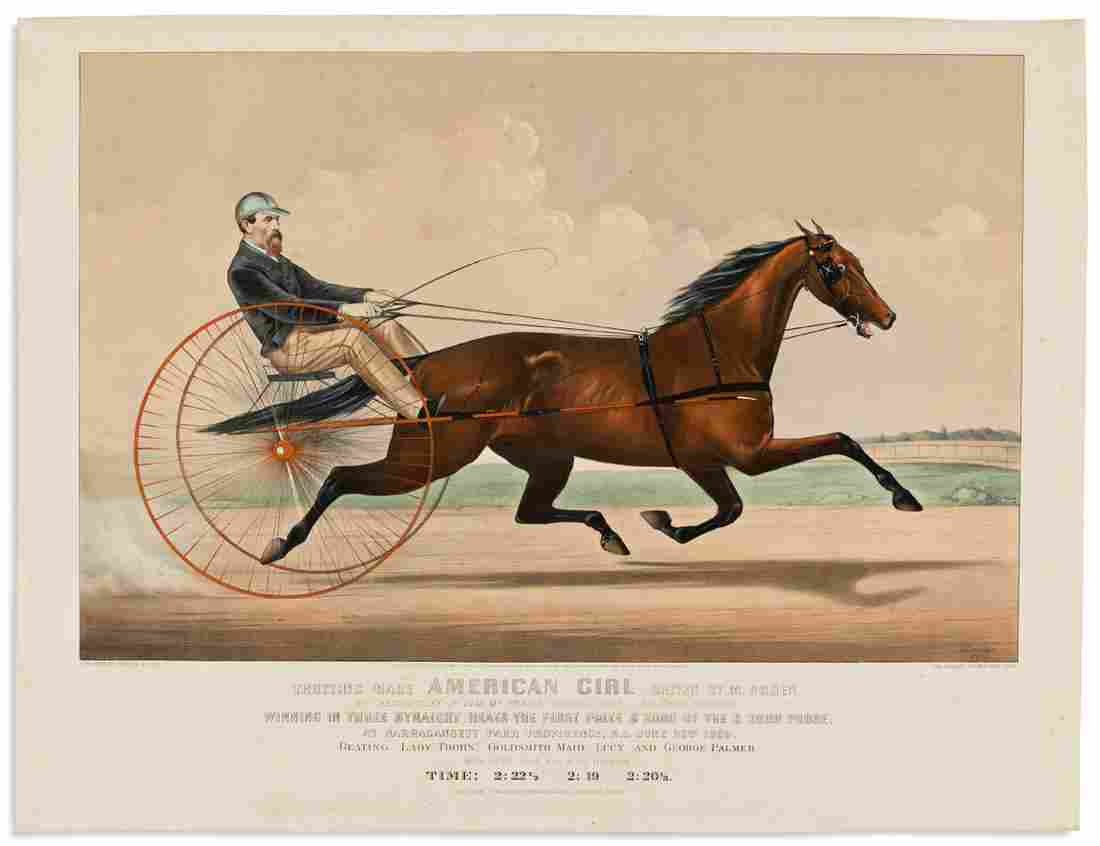 CURRIER & IVES. Trotting Mare American Girl Driven by