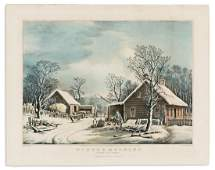 CURRIER  IVES after George Durrie Winter Morning