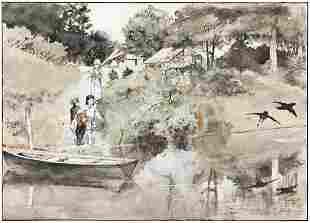 GEORGE BREHM (1878-1966) Children at the Pond.
