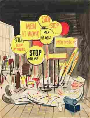 """STEVAN DOHANOS (1907-1994) """"Men Working."""" [COVER ART /"""