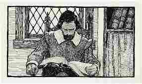 """N.C. WYETH (1882-1945) Standish Reading / """"Heading"""