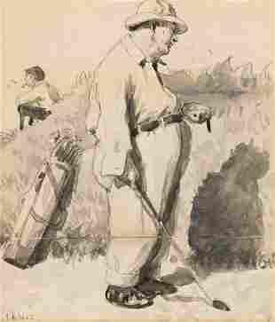ARTHUR B. FROST (1851-1928) Golfer Smoking. [COLLIER'S