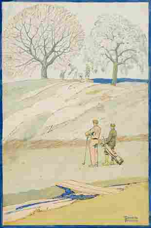 EDWARD PENFIELD (1866-1925) A Golfing Scene in Spring.