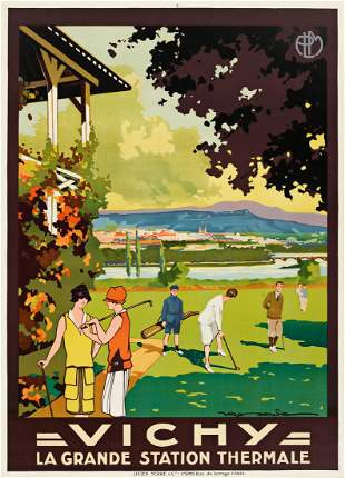 """ROGER SOUBIE (1898-1984) """"Vichy."""" [GOLF / POSTERS /"""