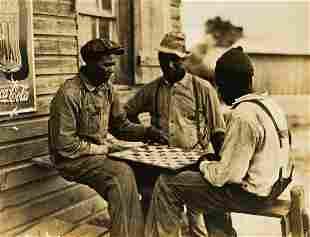 CHARLES KRUTCH (1887-1981) Men playing checkers, Red