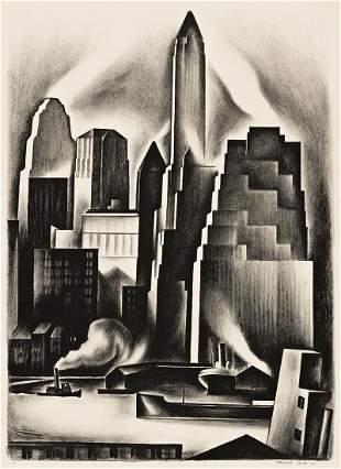 HOWARD COOK (1901-1980) Lower Manhattan.
