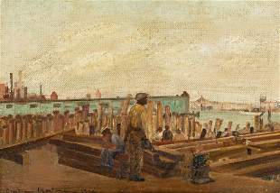 BERTRAM HARTMAN (1882-1960) Laying the Pilings, West
