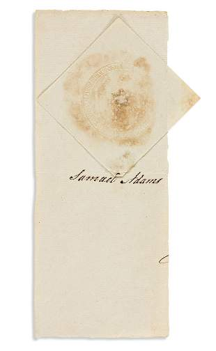 ADAMS, SAMUEL. Clipped Signature, on a fragment of a
