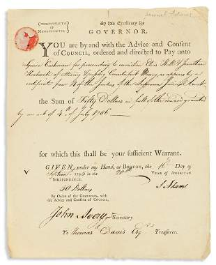 """ADAMS, SAMUEL. Partly-printed Document Signed, """"S"""