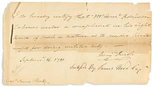(AMERICAN REVOLUTION.) RUSH, BENJAMIN. Brief Autograph