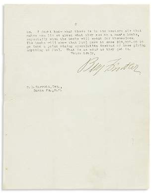 """BUTLER, BENJAMIN F. Typed Letter Signed, """"Benj Butler,"""""""