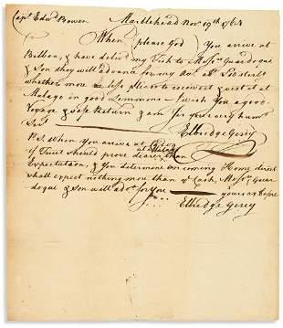 GERRY, ELBRIDGE. Autograph Letter Signed, twice, to
