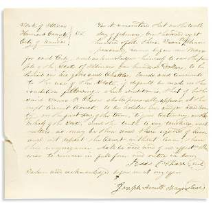 "(MORMONS.) SMITH, JOSEPH. Document Signed, ""Joseph"