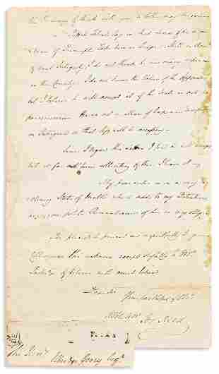 """REED, JOSEPH. Autograph Letter Signed, """"Jos: Reed,"""" to"""