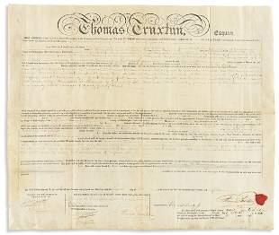 TRUXTUN, THOMAS. Partly-printed vellum Document Signed,