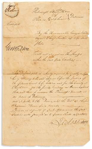"""WALTON, GEORGE. Document Signed, """"GeoWalton,"""" as GA"""