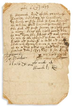 "WINSLOW, JOSIAH. Document Signed, ""Jos: Winslow,"""