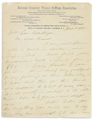ANTHONY, SUSAN B. Autograph Letter Signed, to William