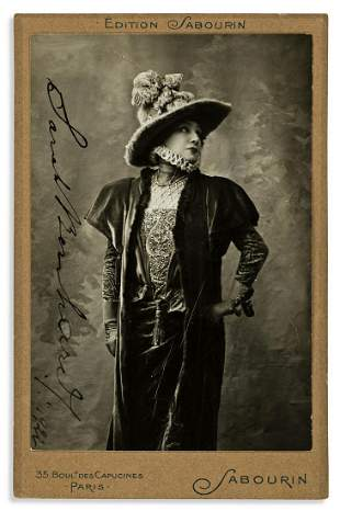 BERNHARDT, SARAH. Photograph dated and Signed, cabinet
