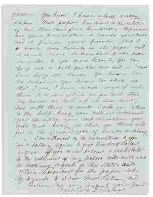 DOUGLASS, FREDERICK. Autograph Letter Signed, to Sallie