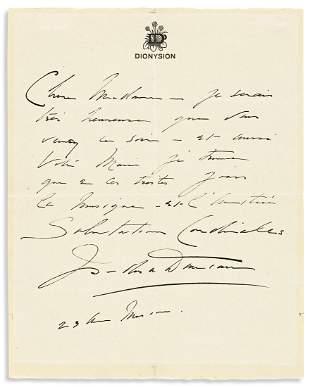 DUNCAN, ISADORA. Autograph Letter Signed, to Madame la