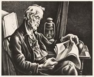 THOMAS HART BENTON Old Man Reading.
