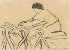 DIEGO RIVERA Mujer preparando la cama para dormir