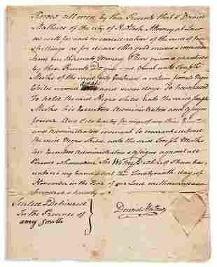 (SLAVERY AND ABOLITION.) David Mathews. Deed of a