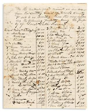 (SLAVERY AND ABOLITION.) Papers of slaveowner John W.