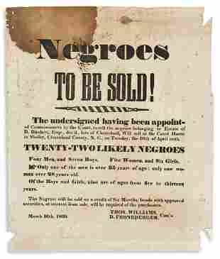 (SLAVERY AND ABOLITION.) Negroes to be Sold! . . .