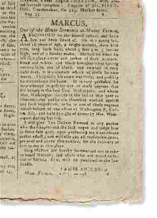 (SLAVERY AND ABOLITION.) Runaway advertisement for