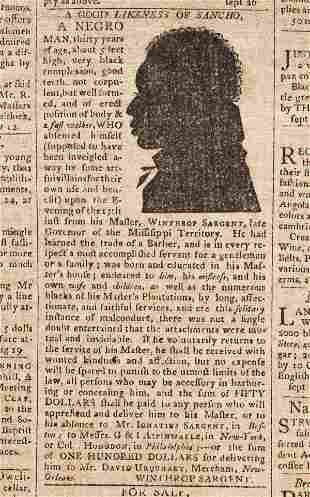(SLAVERY AND ABOLITION.) Runaway slave advertisement
