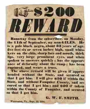 (SLAVERY AND ABOLITION.) G.W.F. Smith. $200 Reward,