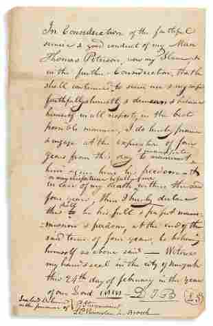 (SLAVERY AND ABOLITION.) Conditional manumission to