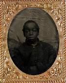 (MILITARY--CIVIL WAR.) Tintype portrait of a servant