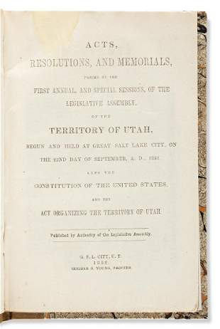(MORMONS.) Acts, Resolutions, and Memorials, passed by