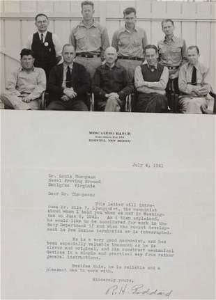 """GODDARD, ROBERT H. Typed Letter Signed """"R.H. G"""