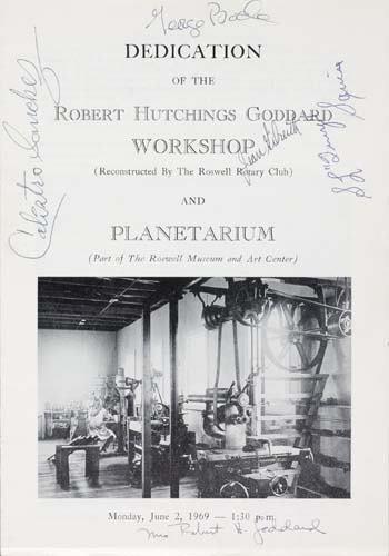 (GODDARD, ROBERT H.) Dedication of the Robert