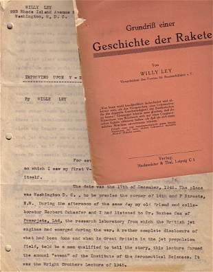 LEY, WILLY.Two items written by Ley.Geschichte