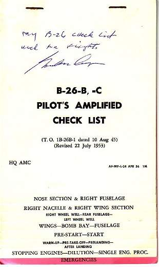 B-26-B, -C Pilot's Amplified Check List. A nin