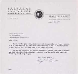 GRISSOM, VIRGIL I. Typed Letter Signed, on NAS