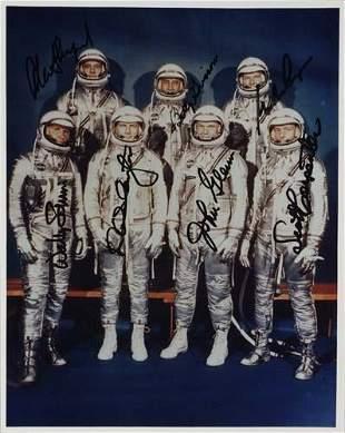 Mercury Astronauts. Color photograph Signed, s