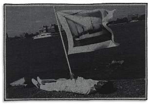 LATOYA RUBY FRAZIER (1982- )  Holding flag laying at