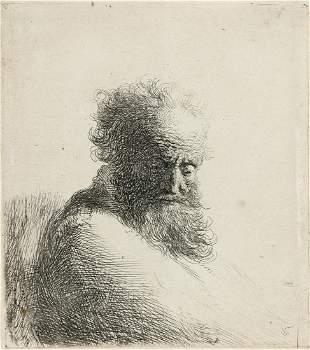 REMBRANDT VAN RIJN Bust of an Old Bearded Man, Looking