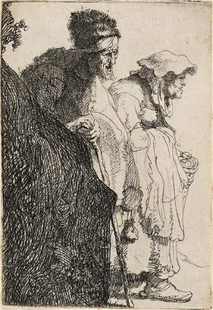 REMBRANDT VAN RIJN A Beggar Man and Woman behind a